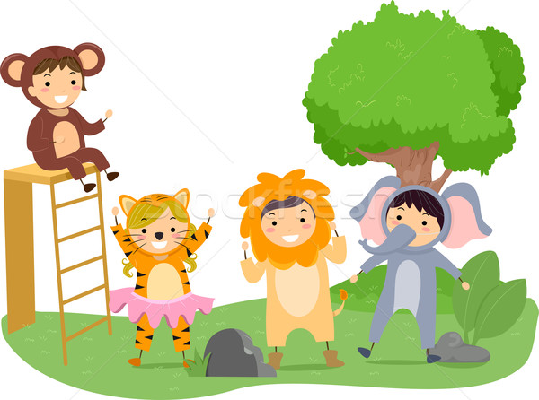 дети играть иллюстрация джунгли ребенка Сток-фото © lenm