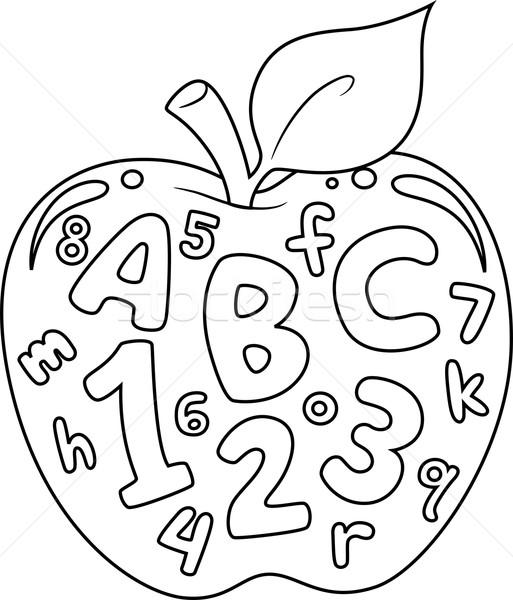 Sayılar Harfler Sayfa Boyama Kitabı örnek Elma Vektör