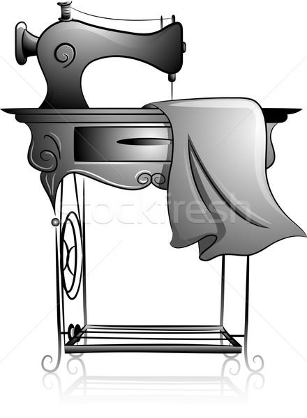 швейные машины икона иллюстрация черно белые дизайна Сток-фото © lenm