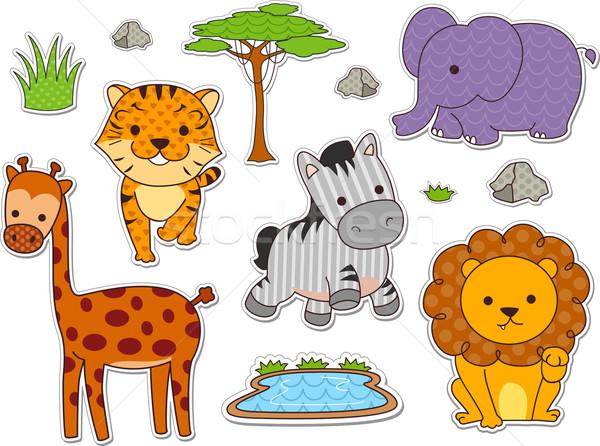 サファリ 動物 ステッカー 実例 準備 印刷 ストックフォト © lenm