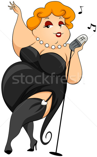 Plump woman Singing Stock photo © lenm