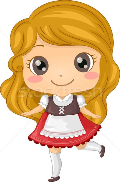 Kostuum illustratie meisje kid jonge Stockfoto © lenm