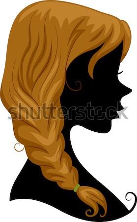 Lófarok sziluett illusztráció lány visel nő Stock fotó © lenm