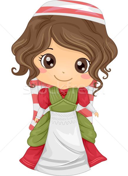 Italiaans meisje illustratie kostuum kind Stockfoto © lenm