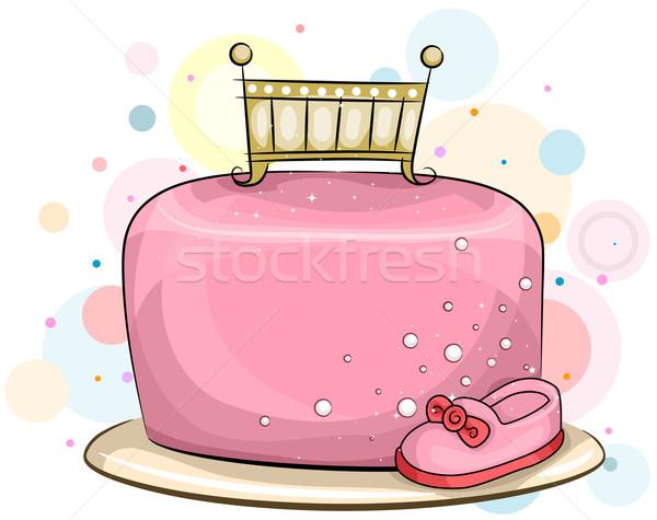 Torta lánycsecsemők illusztráció kislány születésnapi torta nőies Stock fotó © lenm