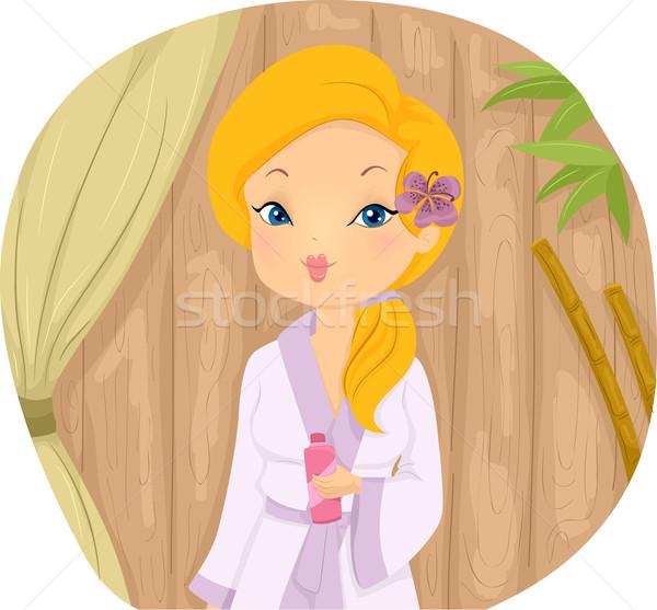 Menina roupão de banho estância termal ilustração padrão Foto stock © lenm