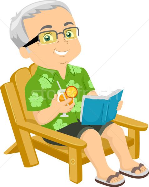 Senior Man Beach Chair Stock photo © lenm