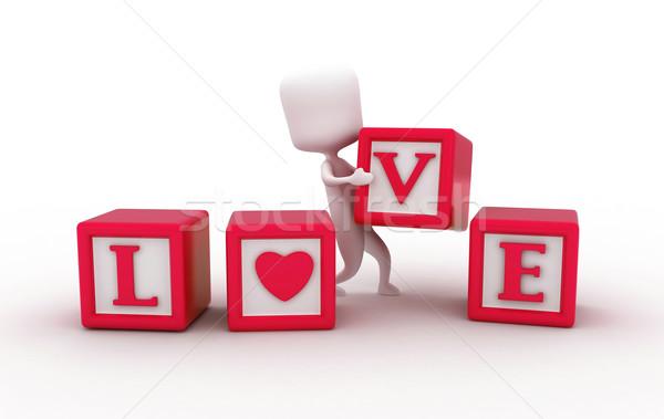 Miłości bloków 3d ilustracji człowiek sztuk formularza Zdjęcia stock © lenm