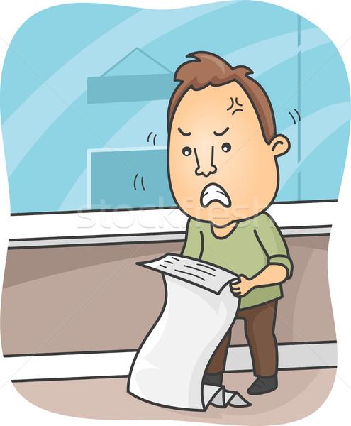 Uomo arrabbiato fatturazione illustrazione numeri finanziaria Foto d'archivio © lenm