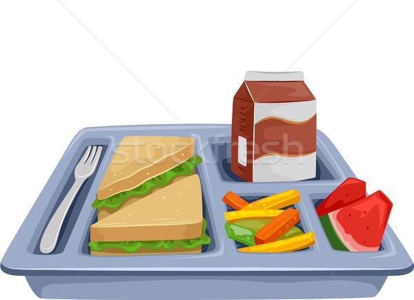 Maaltijd dienblad dieet lunch illustratie gezonde voeding Stockfoto © lenm