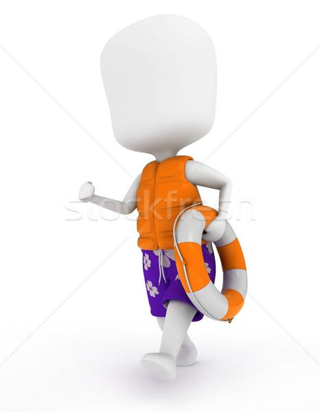Uruchomiony ratownik 3d ilustracji człowiek pracy mężczyzna Zdjęcia stock © lenm