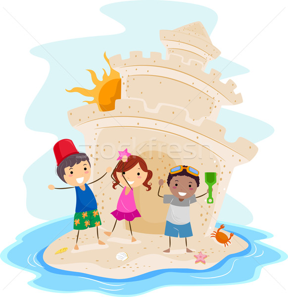 Homokvár illusztráció gyerekek bemutat nagy tengerpart Stock fotó © lenm