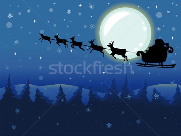 Święty mikołaj pływające sanie pełnia księżyca ilustracja jazda konna Zdjęcia stock © lenm