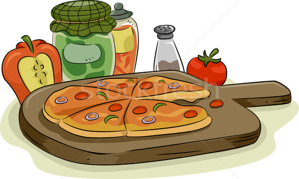 Pizza with Toppings and Spices Stock photo © lenm