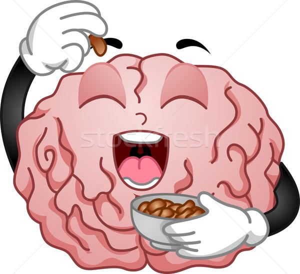 Cervello mascotte mangiare arachidi illustrazione cartoon Foto d'archivio © lenm