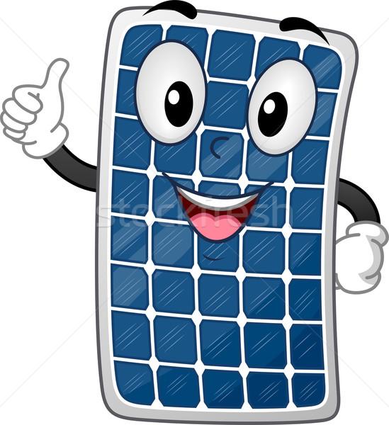 Panneau solaire mascotte illustration soleil énergie Photo stock © lenm