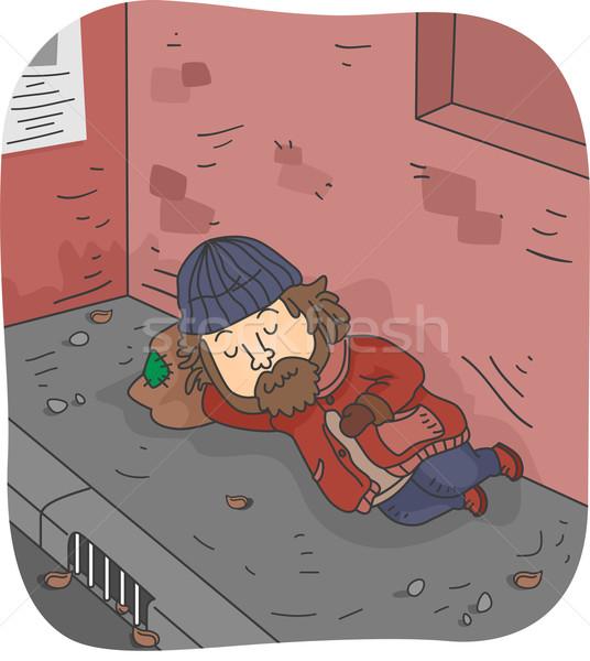 Sin hogar hombre ilustración dormir pavimento masculina Foto stock © lenm