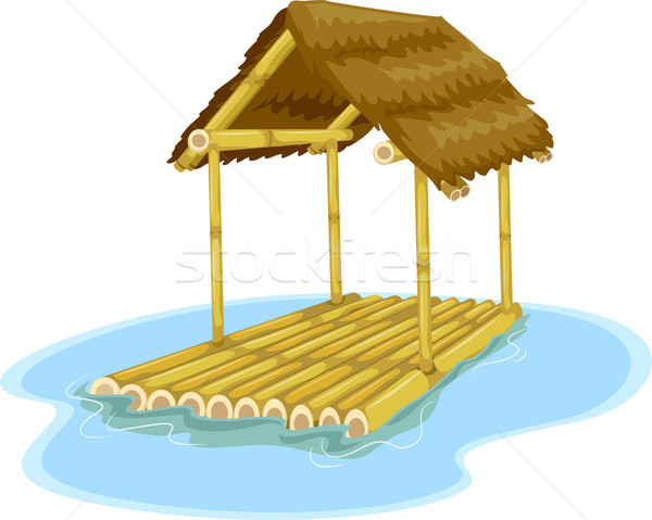 Hut illustratie bevestigd bamboe vlot Stockfoto © lenm
