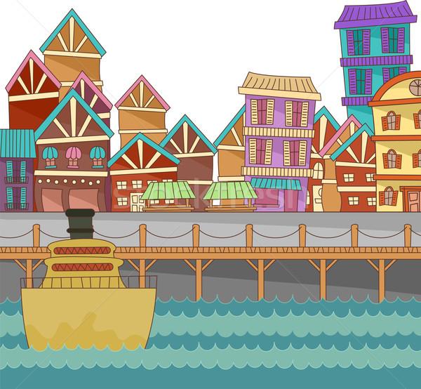 Portu budynków ilustracja kolorowy morza statku Zdjęcia stock © lenm