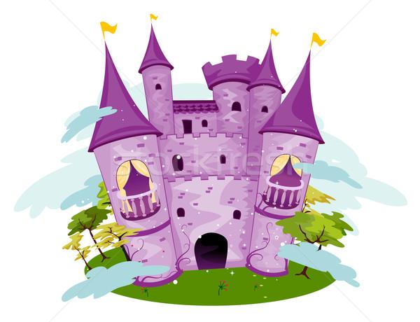紫色 城 木 漫画 塔 ストックフォト © lenm