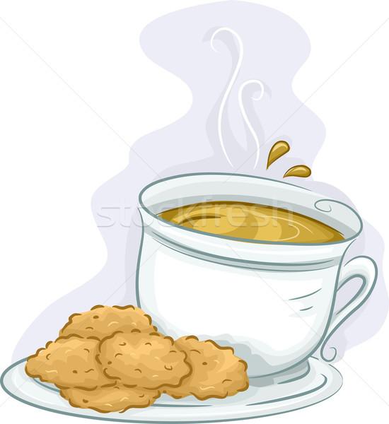 Herbaty kawy cookie ilustracja tablicy serwowane Zdjęcia stock © lenm