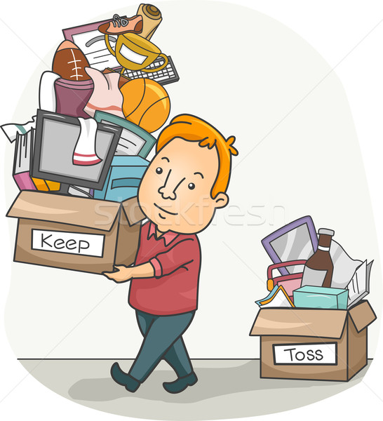 Man Organizing His Things Stock photo © lenm