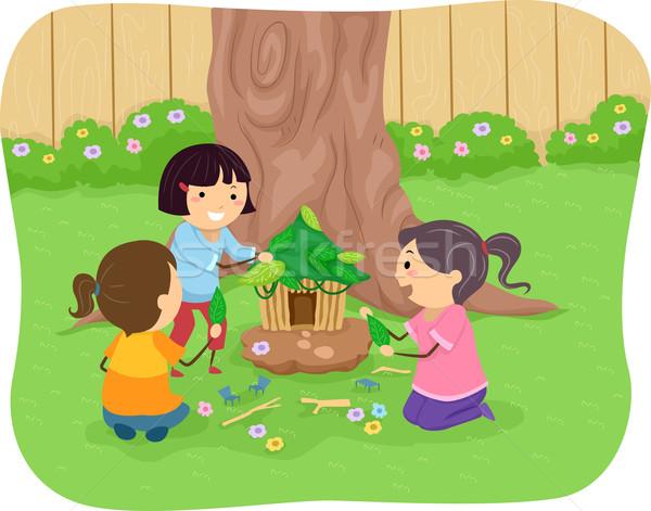 Stickman Kids Fairy House Stock photo © lenm