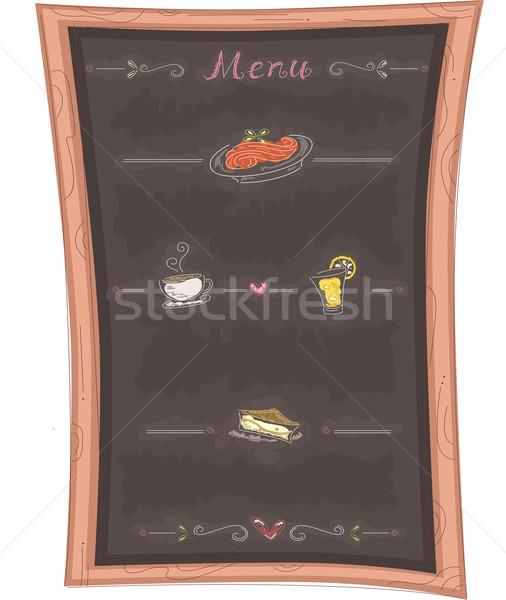 Menu lavagna illustrazione ristorante cena decorazione Foto d'archivio © lenm