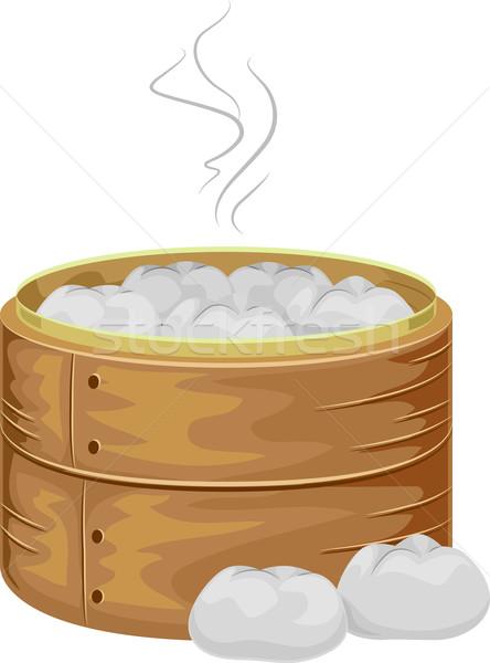 Carne bambú buque de vapor ilustración caliente chino Foto stock © lenm