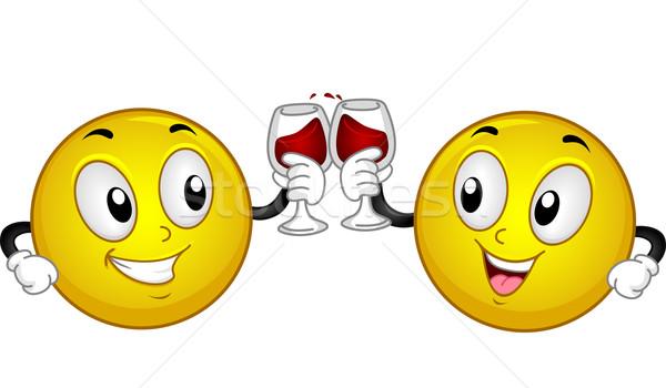 Smiley Couple Wine Toast Stock photo © lenm