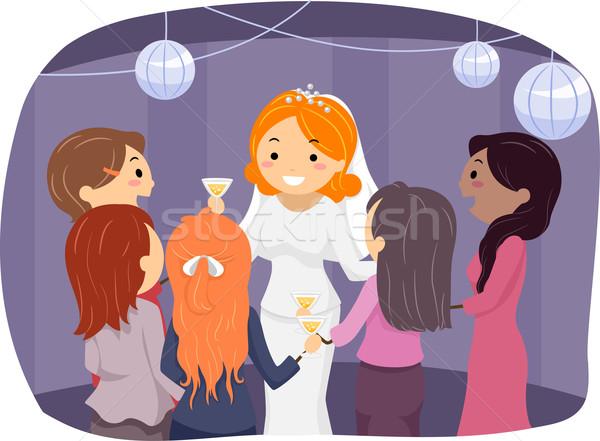 Meisje bruid illustratie receptie Stockfoto © lenm