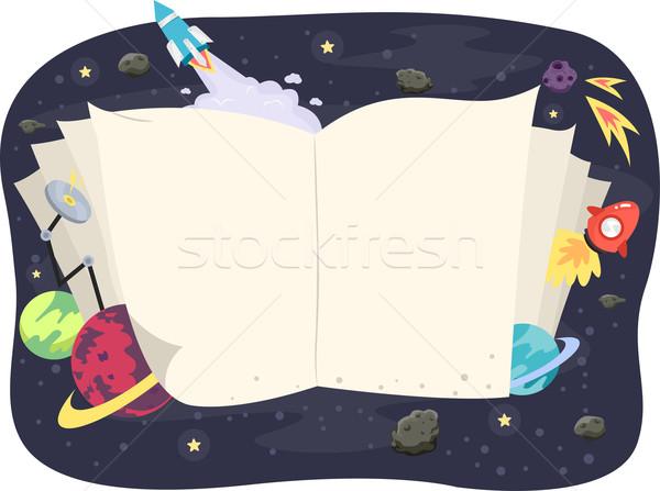 Nyitott könyv világűr illusztráció csillagászat könyv absztrakt Stock fotó © lenm