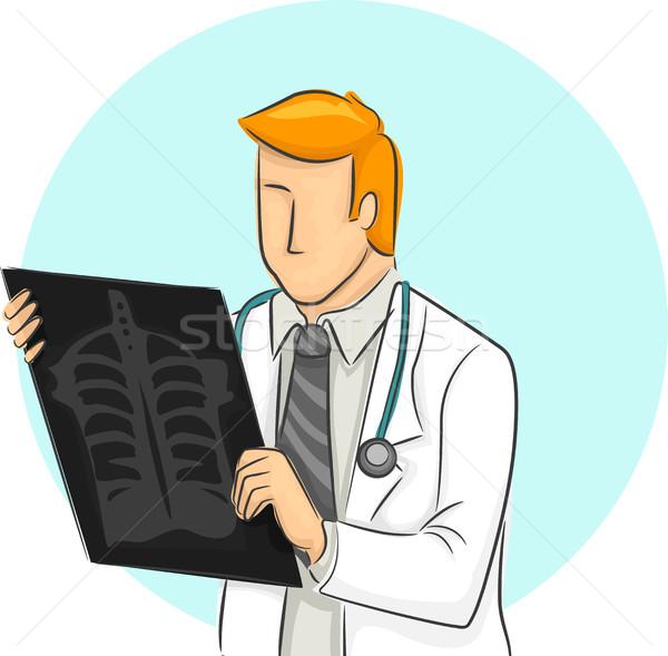 Férfi orvos megvizsgál röntgen illusztráció beteg Stock fotó © lenm