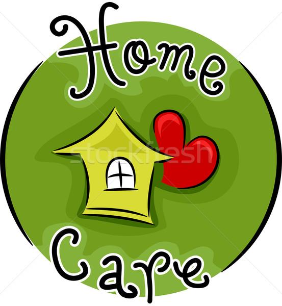 Cuidados en el hogar icono ilustración web etiqueta vector Foto stock © lenm