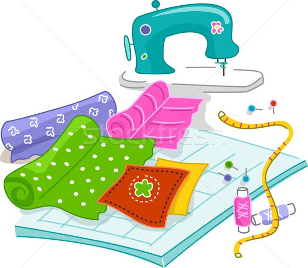 Illustrazione materiali usato arte panno cucire Foto d'archivio © lenm