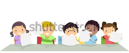 Gyerekek osztályterem illusztráció iskola gyermek diák Stock fotó © lenm
