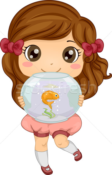 Illustration of Little Girl carrying her Pet Fish an Aquarium Stock photo © lenm