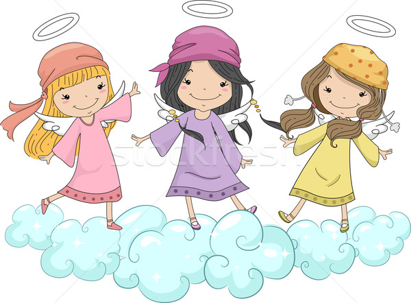 Girl Angels with Head Scarves Standing on Clouds Stock photo © lenm