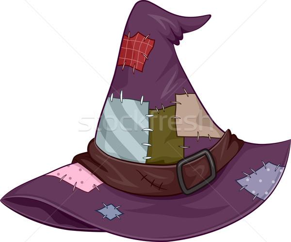 Kapelusz czarownicy ilustracja pokryty wakacje cartoon uroczystości Zdjęcia stock © lenm