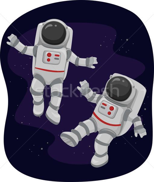 Flutuante espaço ilustração ciência desenho animado planetas Foto stock © lenm