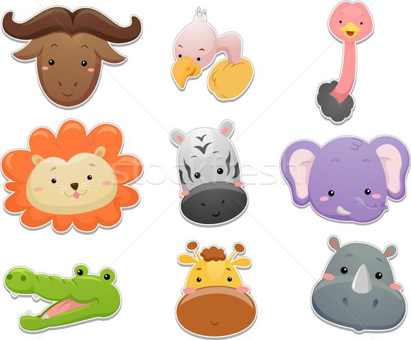 Safari dieren ingesteld illustratie cute ontwerp leeuw Stockfoto © lenm