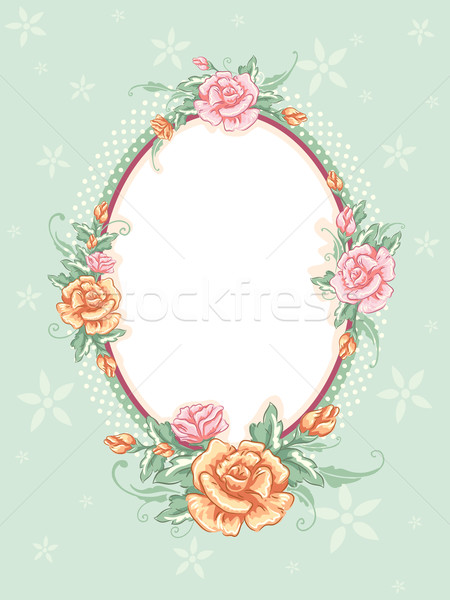 Shabby Chic Floral Frame Stock photo © lenm
