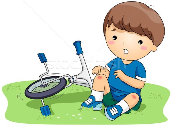 Kid illustratie jongen veiligheid ongeval scratch Stockfoto © lenm