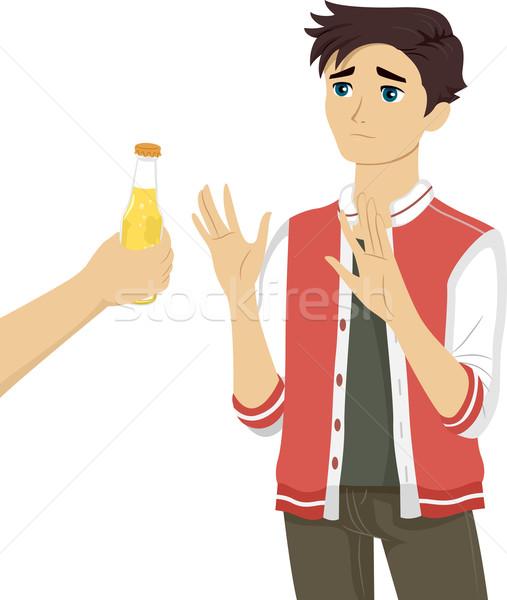 Adolescente tipo cerveza ilustración botella Foto stock © lenm