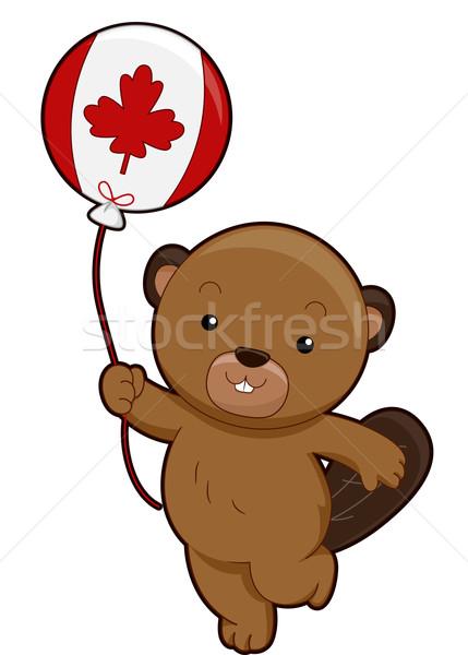 Photo stock: Mascotte · castor · Canada · ballon · illustration
