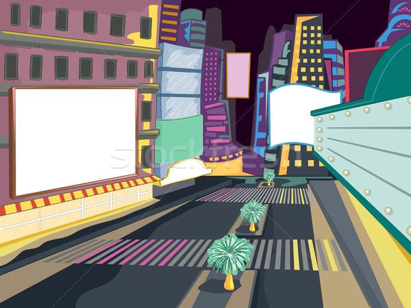 Night City ramki ilustracja zatłoczony kolorowy miasta Zdjęcia stock © lenm