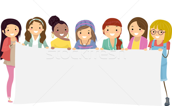 Illustration of Teenage Girls Holding a Blank Banner Stock photo © lenm