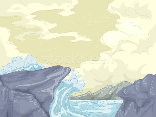 Mare shore onde illustrazione gigante pietra Foto d'archivio © lenm