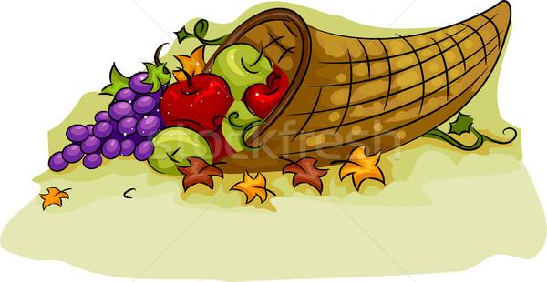 Cuerno de la abundancia cesta ilustración acción de gracias diseno frutas Foto stock © lenm