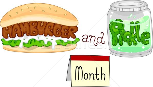 Hamburguesa mes ilustración jar completo encurtidos Foto stock © lenm